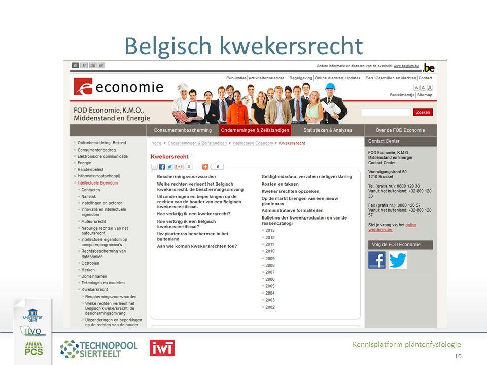 Belgisch kwekersrecht Kennisplatform plantenfysiologie 10