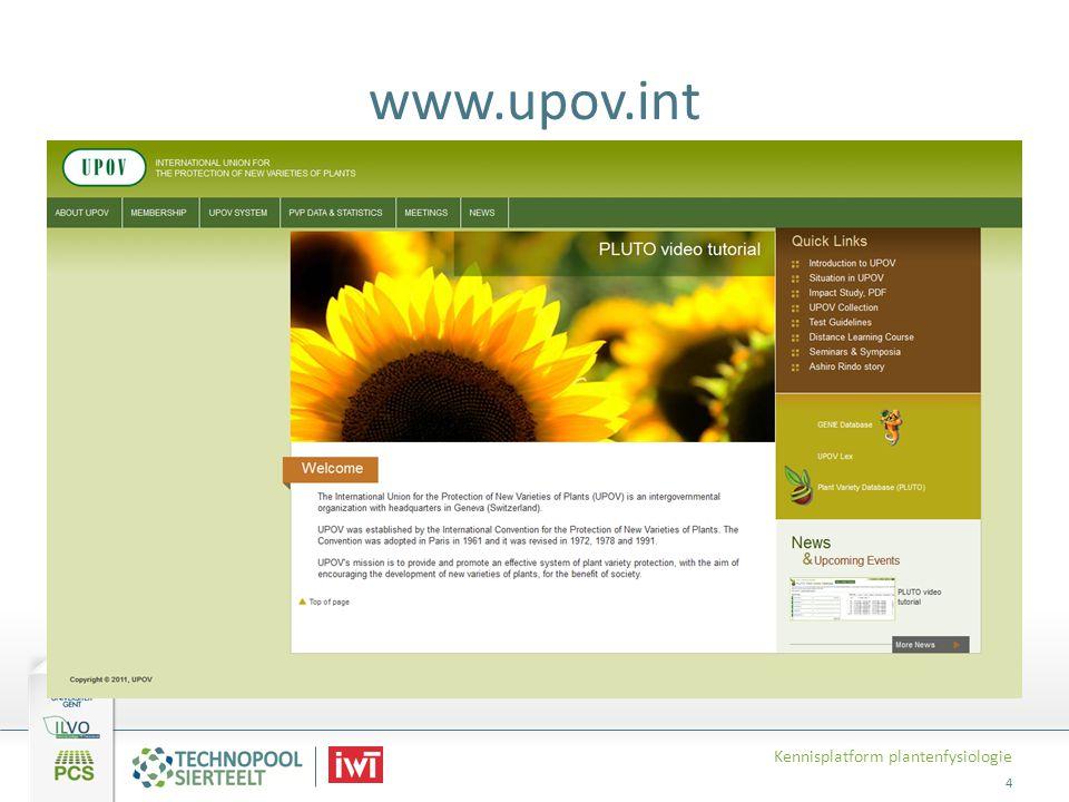 www.upov.int Kennisplatform plantenfysiologie 4