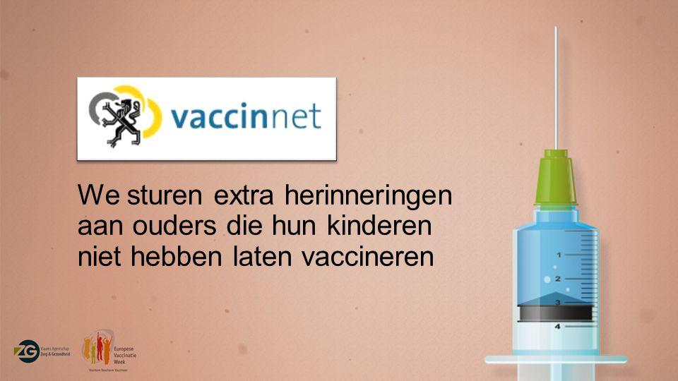We sturen extra herinneringen aan ouders die hun kinderen niet hebben laten vaccineren