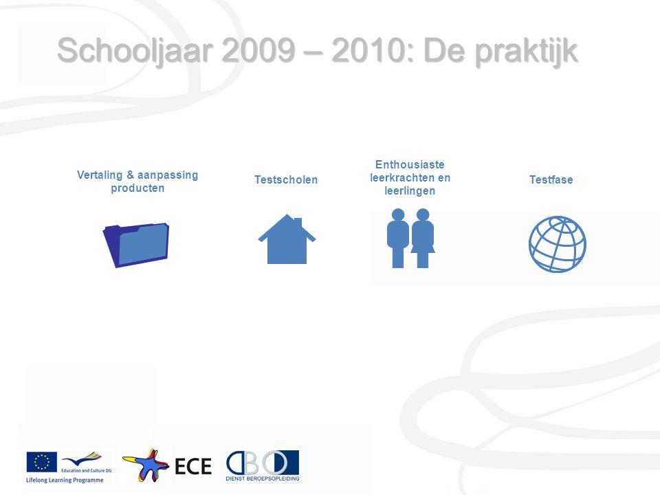 Schooljaar 2009 – 2010: De praktijk Vertaling & aanpassing producten Enthousiaste leerkrachten en leerlingen TestscholenTestfase