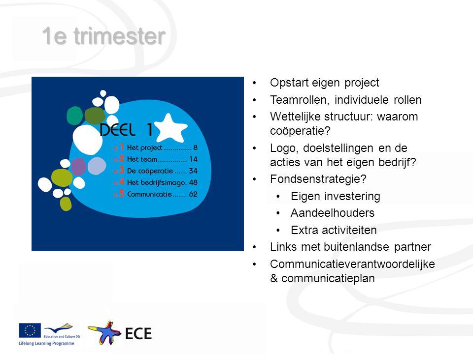 1e trimester Opstart eigen project Teamrollen, individuele rollen Wettelijke structuur: waarom coöperatie.