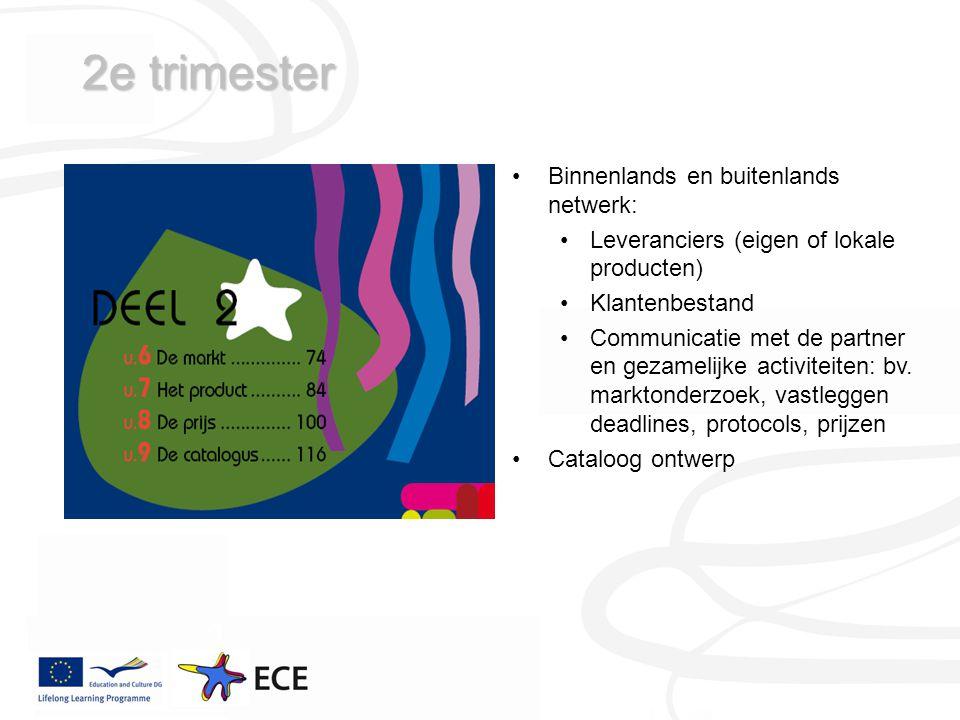 2e trimester Binnenlands en buitenlands netwerk: Leveranciers (eigen of lokale producten) Klantenbestand Communicatie met de partner en gezamelijke activiteiten: bv.