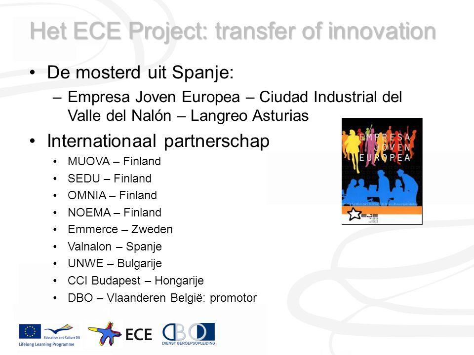 Het ECE Project: transfer of innovation De mosterd uit Spanje: –Empresa Joven Europea – Ciudad Industrial del Valle del Nalón – Langreo Asturias Inter