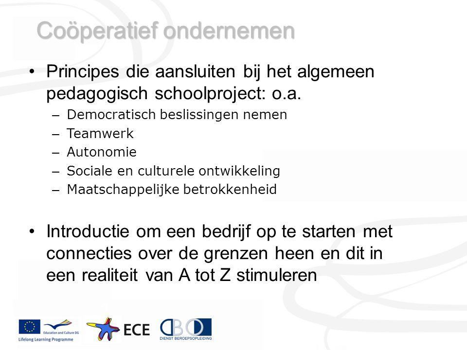 Coöperatief ondernemen Principes die aansluiten bij het algemeen pedagogisch schoolproject: o.a.