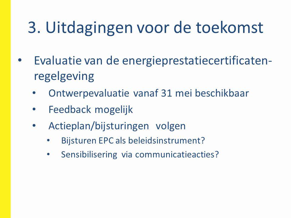 Evaluatie van de energieprestatiecertificaten- regelgeving Ontwerpevaluatie vanaf 31 mei beschikbaar Feedback mogelijk Actieplan/bijsturingen volgen B
