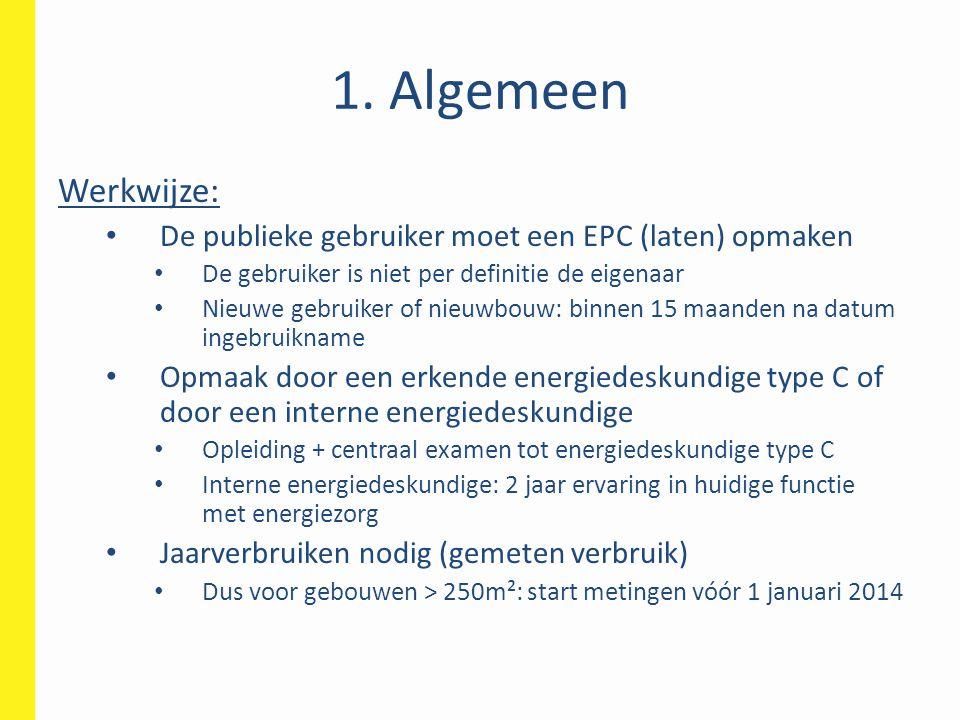1. Algemeen Werkwijze: De publieke gebruiker moet een EPC (laten) opmaken De gebruiker is niet per definitie de eigenaar Nieuwe gebruiker of nieuwbouw