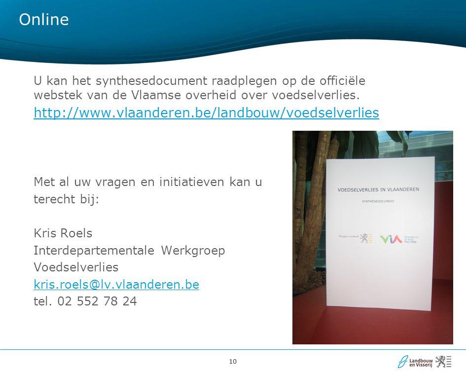 10 Online U kan het synthesedocument raadplegen op de officiële webstek van de Vlaamse overheid over voedselverlies. http://www.vlaanderen.be/landbouw