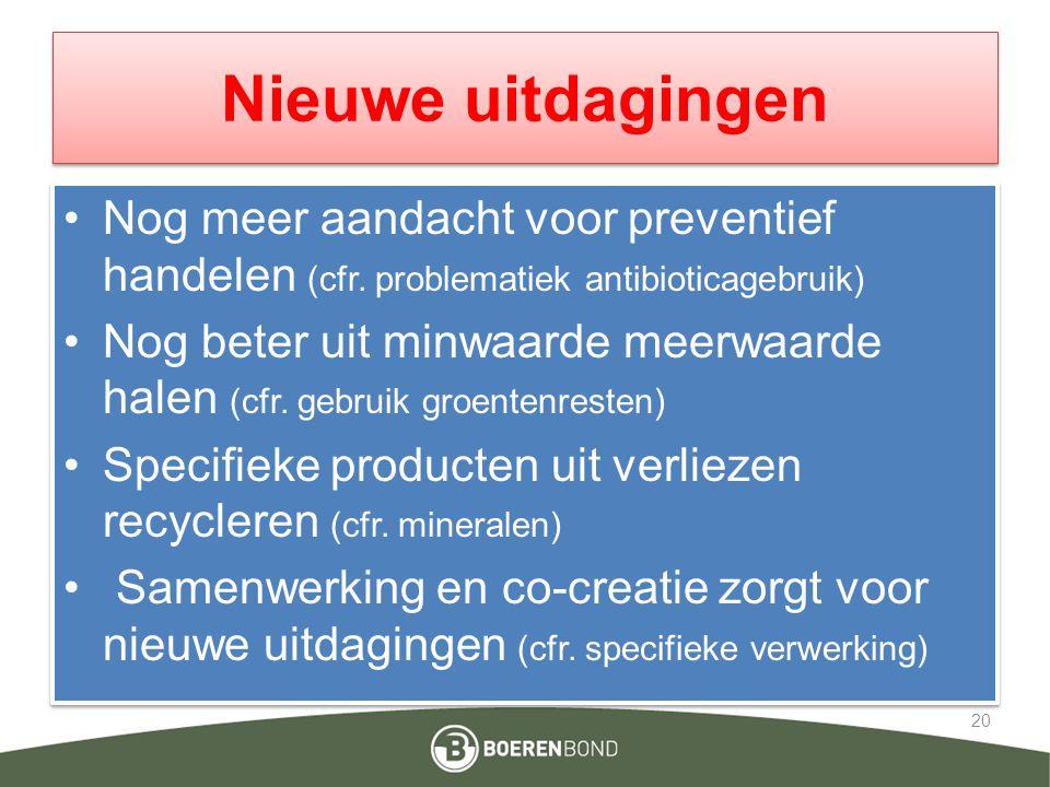 Nieuwe uitdagingen Nog meer aandacht voor preventief handelen (cfr. problematiek antibioticagebruik) Nog beter uit minwaarde meerwaarde halen (cfr. ge