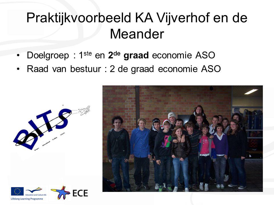 Praktijkvoorbeeld KA Vijverhof en de Meander Doelgroep : 1 ste en 2 de graad economie ASO Raad van bestuur : 2 de graad economie ASO