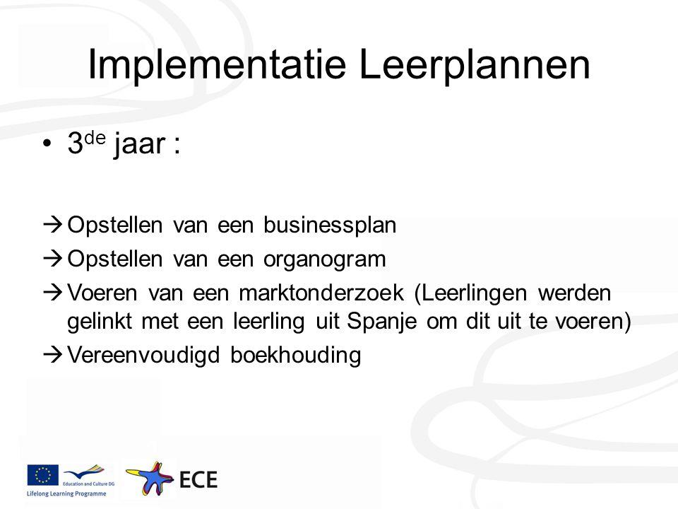 Implementatie Leerplannen 3 de jaar :  Opstellen van een businessplan  Opstellen van een organogram  Voeren van een marktonderzoek (Leerlingen werden gelinkt met een leerling uit Spanje om dit uit te voeren)  Vereenvoudigd boekhouding