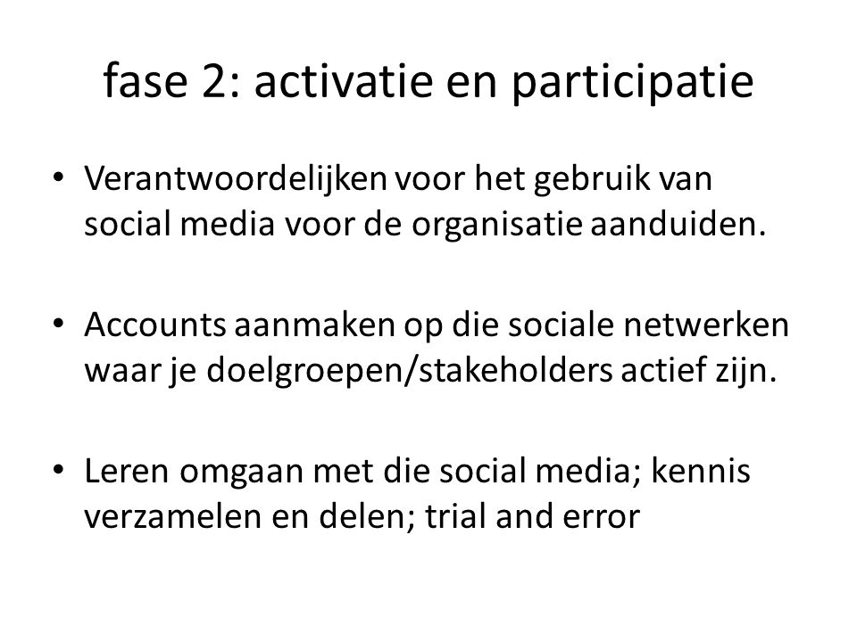 Verantwoordelijken voor het gebruik van social media voor de organisatie aanduiden.