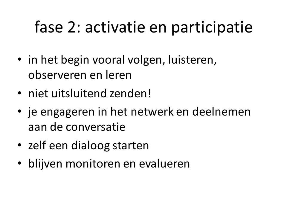 fase 2: activatie en participatie in het begin vooral volgen, luisteren, observeren en leren niet uitsluitend zenden.
