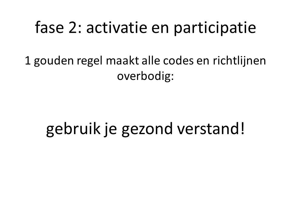 fase 2: activatie en participatie 1 gouden regel maakt alle codes en richtlijnen overbodig: gebruik je gezond verstand!