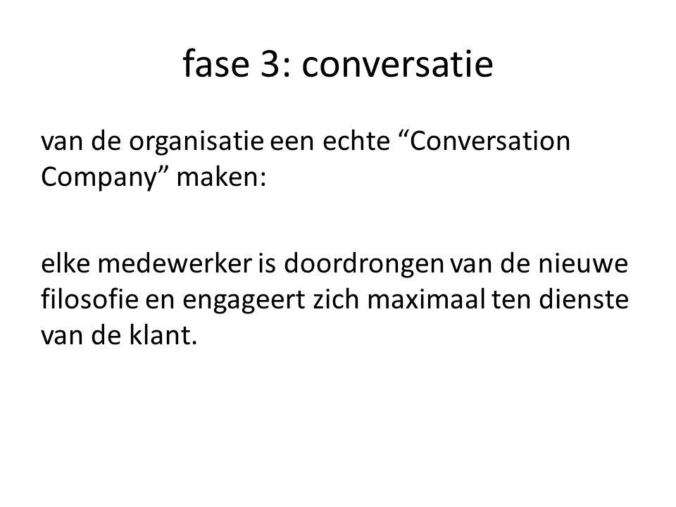fase 3: conversatie van de organisatie een echte Conversation Company maken: elke medewerker is doordrongen van de nieuwe filosofie en engageert zich maximaal ten dienste van de klant.