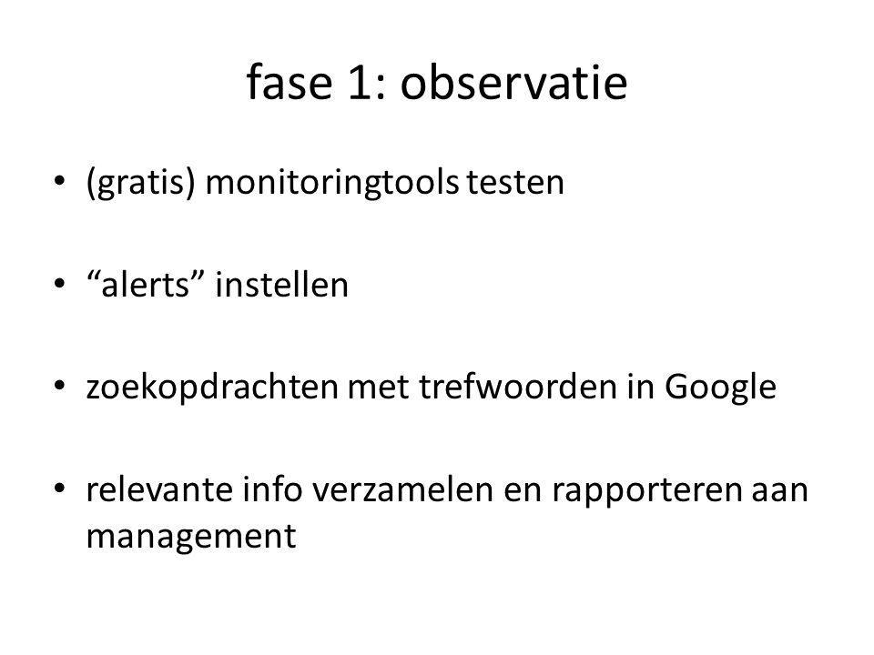 fase 1: observatie (gratis) monitoringtools testen alerts instellen zoekopdrachten met trefwoorden in Google relevante info verzamelen en rapporteren aan management