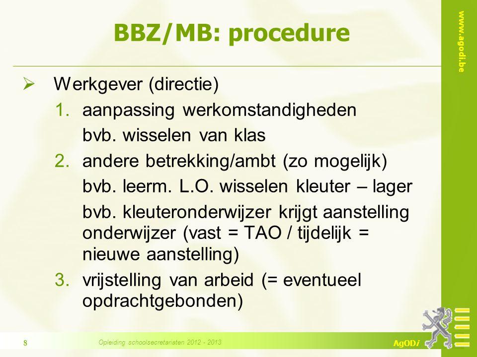 www.agodi.be AgODi BBZ/MB: procedure  Werkgever (directie) 1.aanpassing werkomstandigheden bvb.