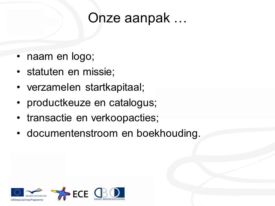 Onze aanpak … naam en logo; statuten en missie; verzamelen startkapitaal; productkeuze en catalogus; transactie en verkoopacties; documentenstroom en boekhouding.