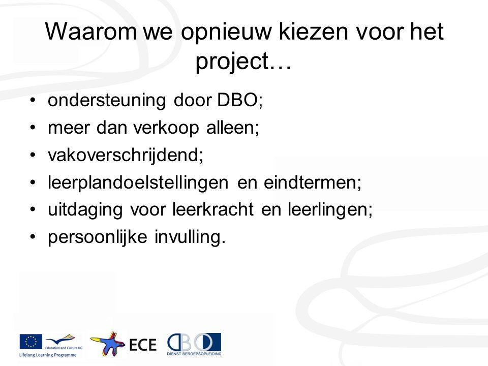 Waarom we opnieuw kiezen voor het project… ondersteuning door DBO; meer dan verkoop alleen; vakoverschrijdend; leerplandoelstellingen en eindtermen; u