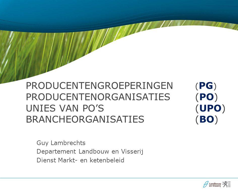 PRODUCENTENGROEPERINGEN ( PG ) PRODUCENTENORGANISATIES (PO) UNIES VAN PO'S (UPO) BRANCHEORGANISATIES (BO) Guy Lambrechts Departement Landbouw en Visserij Dienst Markt- en ketenbeleid