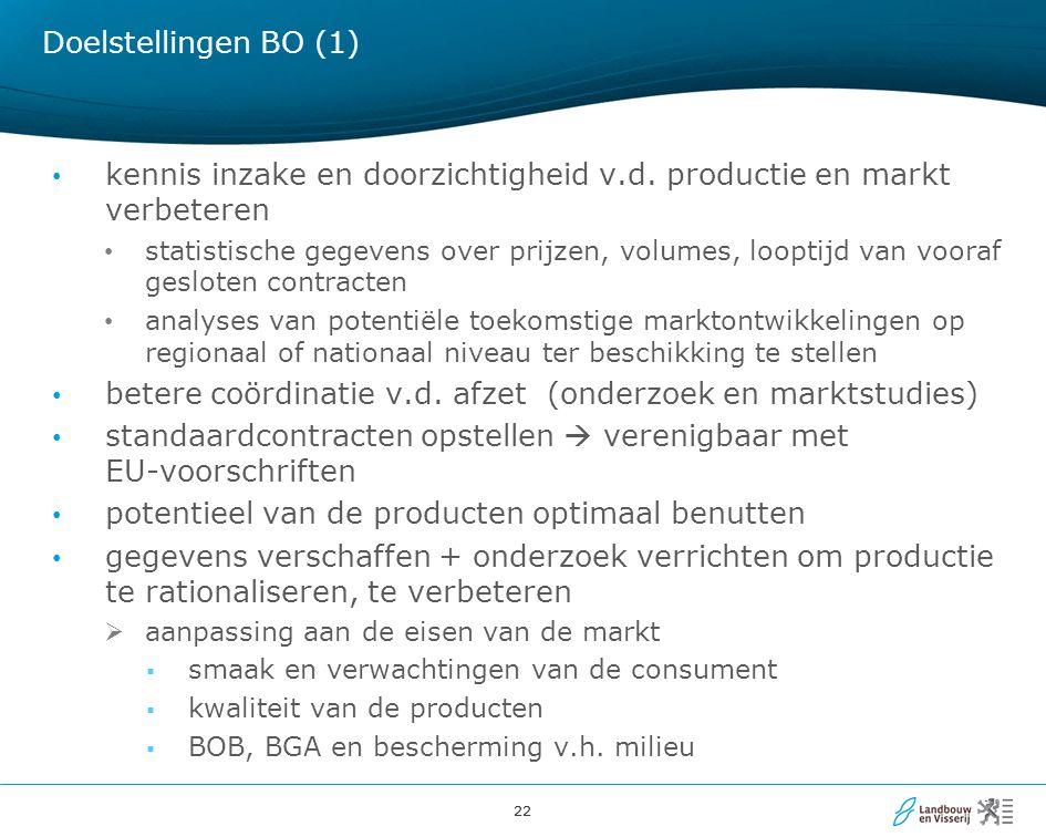 22 Doelstellingen BO (1) kennis inzake en doorzichtigheid v.d.