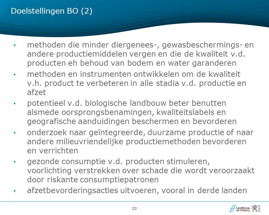 23 Doelstellingen BO (2) methoden die minder diergenees-, gewasbeschermings- en andere productiemiddelen vergen en die de kwaliteit v.d.