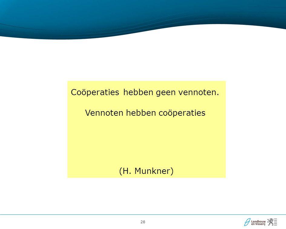 28 Coöperaties hebben geen vennoten. Vennoten hebben coöperaties (H. Munkner)