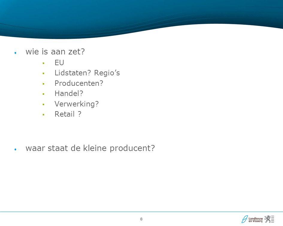 8 wie is aan zet. EU  Lidstaten. Regio's  Producenten.