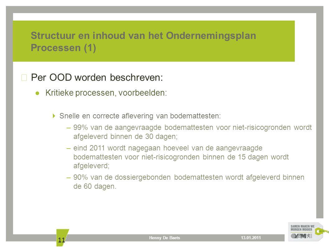 13.01.2011Henny De Baets 11 Structuur en inhoud van het Ondernemingsplan Processen (1) Per OOD worden beschreven: ● Kritieke processen, voorbeelden: 