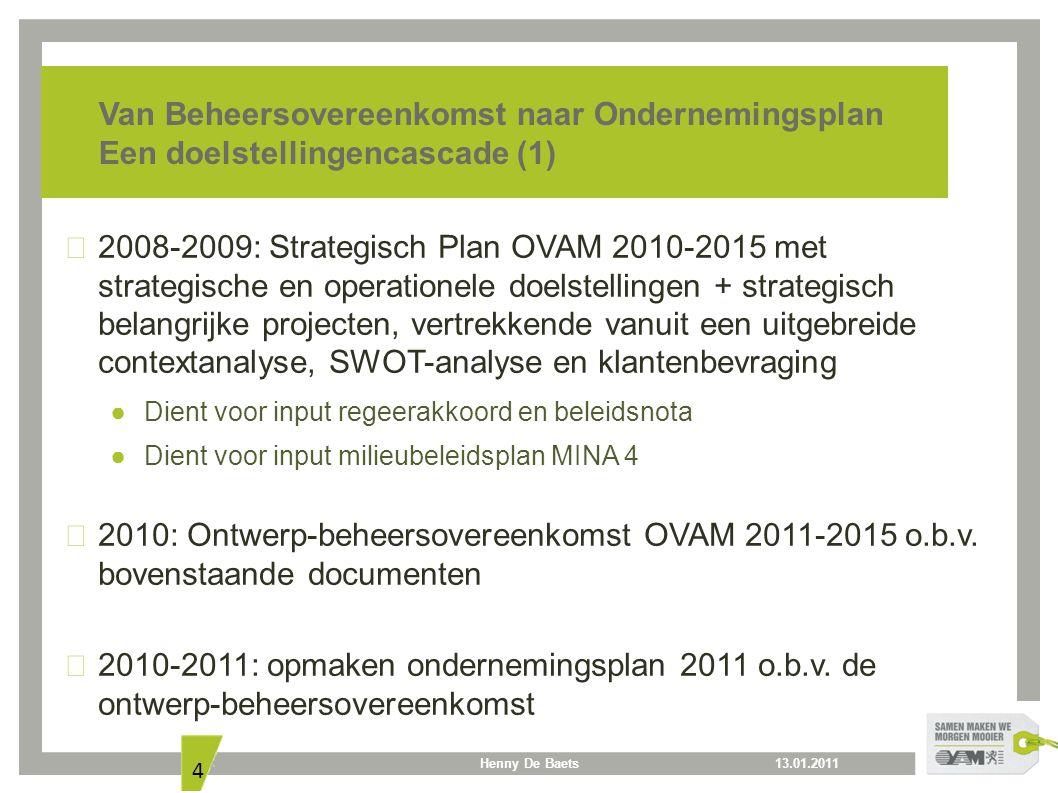 13.01.2011Henny De Baets 4 Van Beheersovereenkomst naar Ondernemingsplan Een doelstellingencascade (1) 2008-2009: Strategisch Plan OVAM 2010-2015 met strategische en operationele doelstellingen + strategisch belangrijke projecten, vertrekkende vanuit een uitgebreide contextanalyse, SWOT-analyse en klantenbevraging ● Dient voor input regeerakkoord en beleidsnota ● Dient voor input milieubeleidsplan MINA 4 2010: Ontwerp-beheersovereenkomst OVAM 2011-2015 o.b.v.
