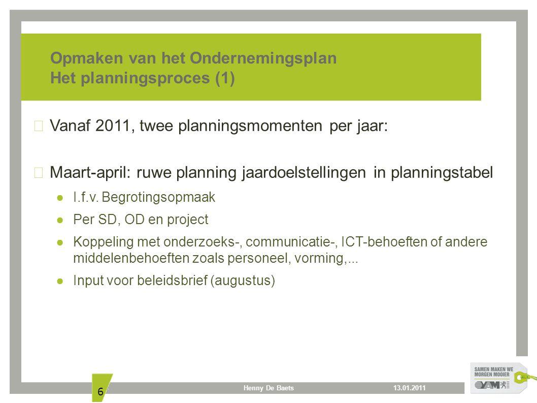 13.01.2011Henny De Baets 6 Opmaken van het Ondernemingsplan Het planningsproces (1) Vanaf 2011, twee planningsmomenten per jaar: Maart-april: ruwe pla