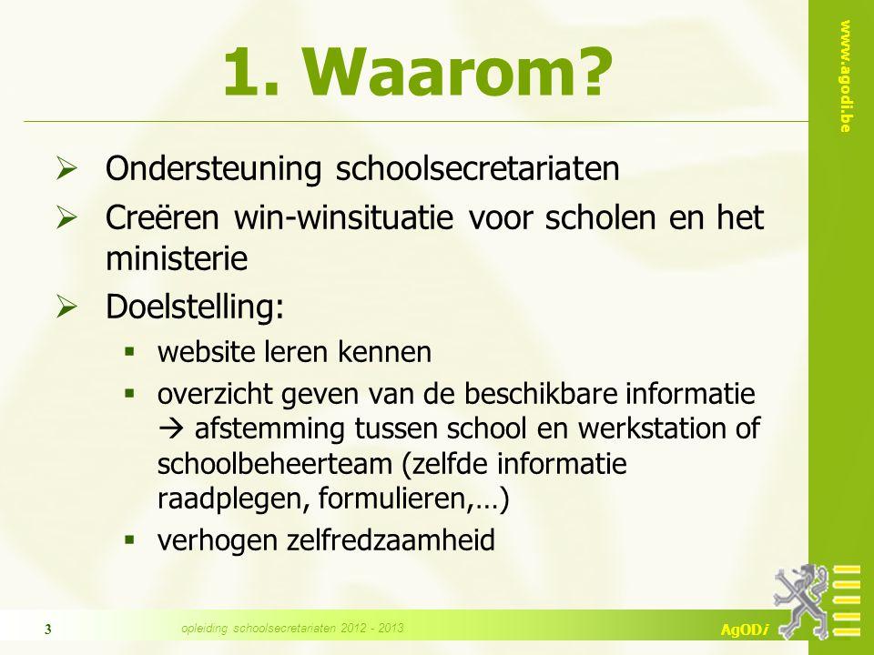www.agodi.be AgODi opleiding schoolsecretariaten 2012 - 2013 3 1.