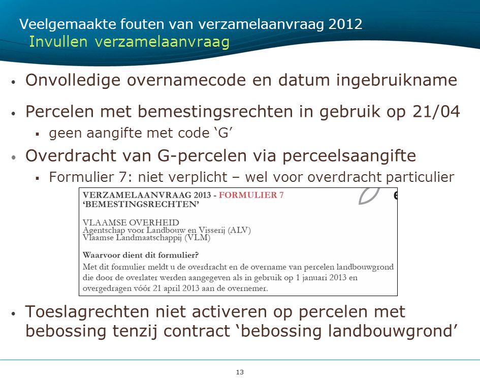 13 Onvolledige overnamecode en datum ingebruikname Percelen met bemestingsrechten in gebruik op 21/04  geen aangifte met code 'G' Overdracht van G-pe