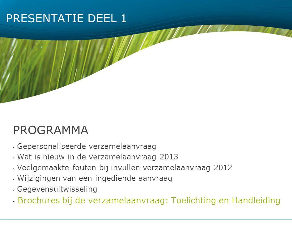 PRESENTATIE DEEL 1 PROGRAMMA Gepersonaliseerde verzamelaanvraag Wat is nieuw in de verzamelaanvraag 2013 Veelgemaakte fouten bij invullen verzamelaanv