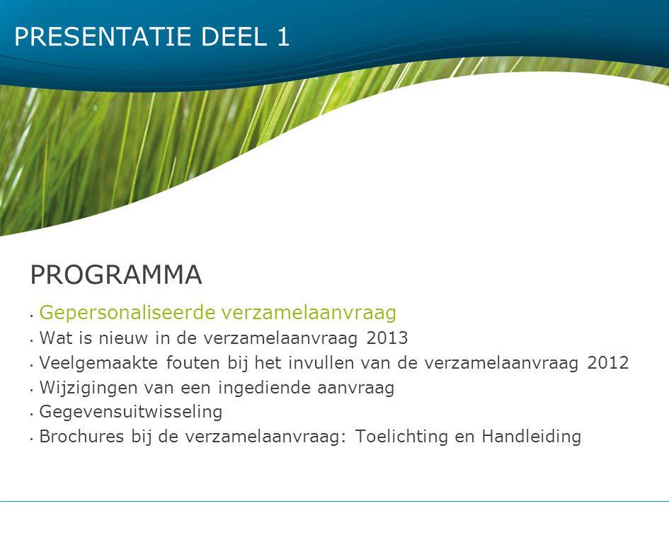 PRESENTATIE DEEL 1 PROGRAMMA Gepersonaliseerde verzamelaanvraag Wat is nieuw in de verzamelaanvraag 2013 Veelgemaakte fouten bij het invullen van de v