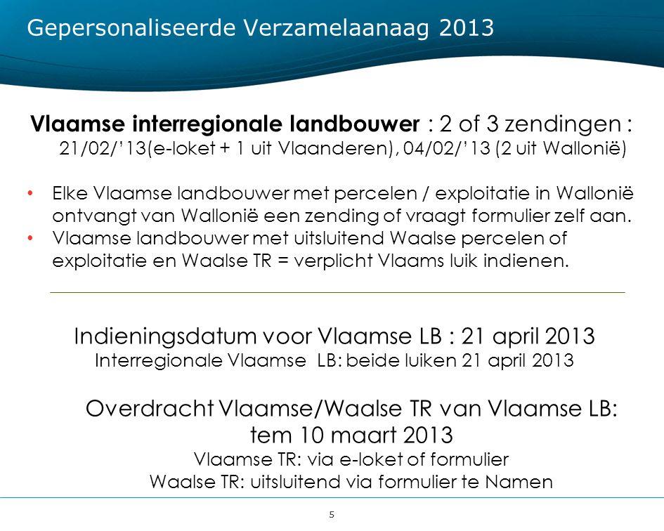55 Gepersonaliseerde Verzamelaanaag 2013 Vlaamse interregionale landbouwer : 2 of 3 zendingen : 21/02/'13(e-loket + 1 uit Vlaanderen), 04/02/'13 (2 ui