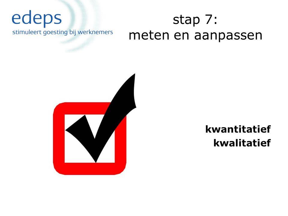 stap 7: meten en aanpassen kwantitatief kwalitatief