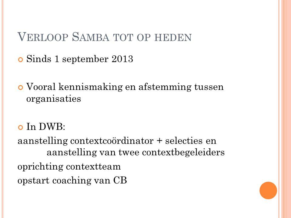 V ERLOOP S AMBA TOT OP HEDEN Sinds 1 september 2013 Vooral kennismaking en afstemming tussen organisaties In DWB: aanstelling contextcoördinator + sel
