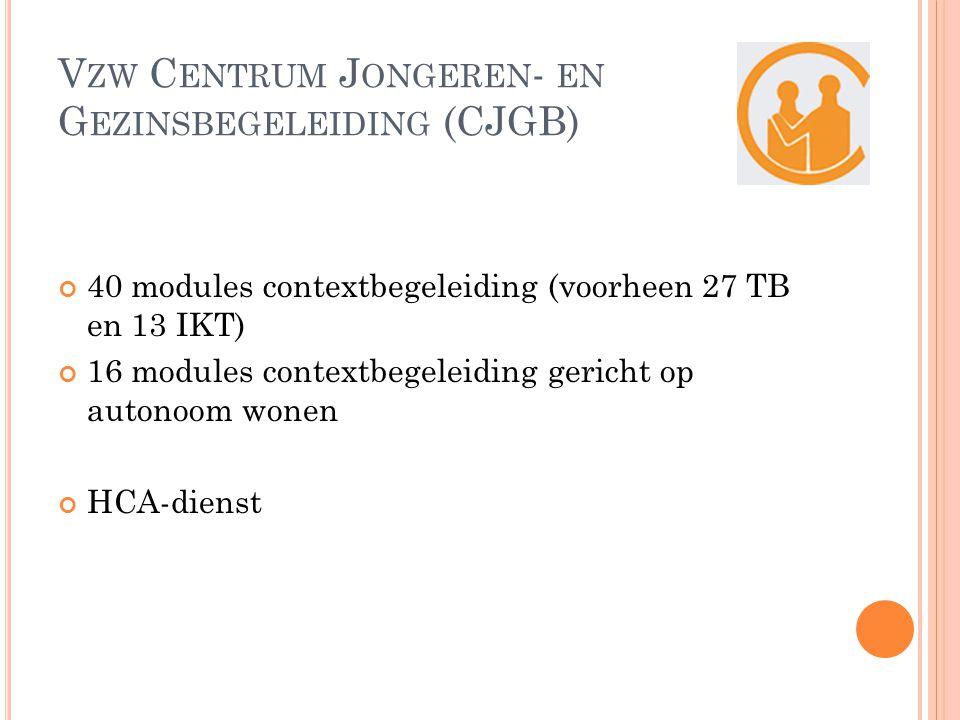 V ZW C ENTRUM J ONGEREN - EN G EZINSBEGELEIDING (CJGB) 40 modules contextbegeleiding (voorheen 27 TB en 13 IKT) 16 modules contextbegeleiding gericht