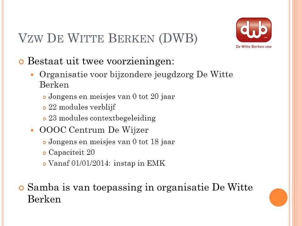 V ZW D E W ITTE B ERKEN (DWB) Bestaat uit twee voorzieningen: Organisatie voor bijzondere jeugdzorg De Witte Berken Jongens en meisjes van 0 tot 20 ja