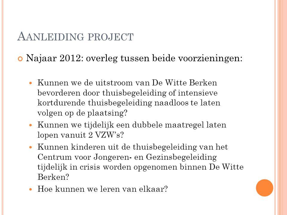A ANLEIDING PROJECT Najaar 2012: overleg tussen beide voorzieningen: Kunnen we de uitstroom van De Witte Berken bevorderen door thuisbegeleiding of in