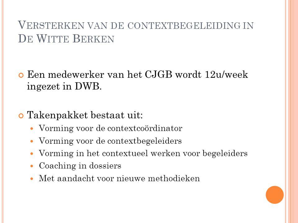 V ERSTERKEN VAN DE CONTEXTBEGELEIDING IN D E W ITTE B ERKEN Een medewerker van het CJGB wordt 12u/week ingezet in DWB. Takenpakket bestaat uit: Vormin