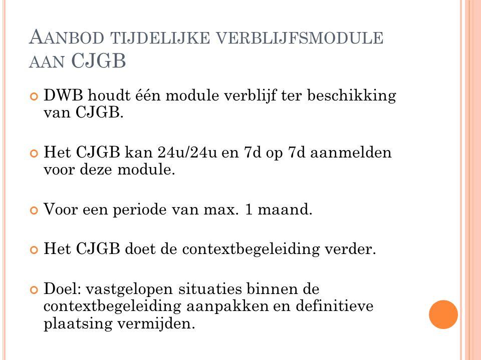 A ANBOD TIJDELIJKE VERBLIJFSMODULE AAN CJGB DWB houdt één module verblijf ter beschikking van CJGB. Het CJGB kan 24u/24u en 7d op 7d aanmelden voor de