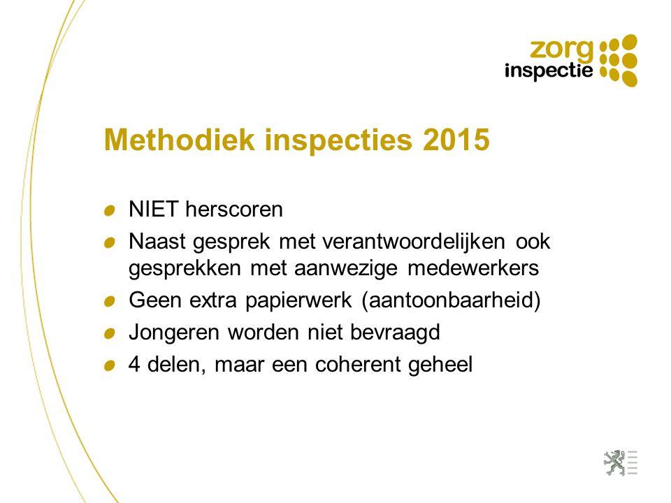 Methodiek inspecties 2015 NIET herscoren Naast gesprek met verantwoordelijken ook gesprekken met aanwezige medewerkers Geen extra papierwerk (aantoonb
