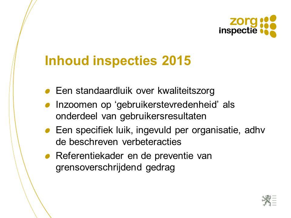 Inhoud inspecties 2015 Een standaardluik over kwaliteitszorg Inzoomen op 'gebruikerstevredenheid' als onderdeel van gebruikersresultaten Een specifiek