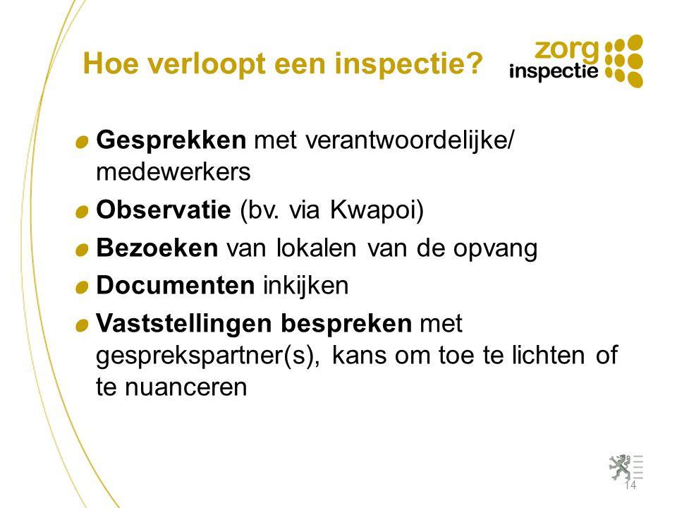 Hoe verloopt een inspectie? Gesprekken met verantwoordelijke/ medewerkers Observatie (bv. via Kwapoi) Bezoeken van lokalen van de opvang Documenten in