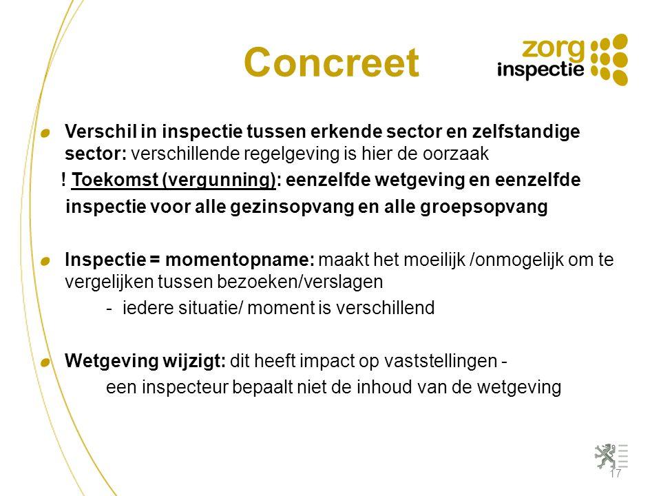Concreet 17 Verschil in inspectie tussen erkende sector en zelfstandige sector: verschillende regelgeving is hier de oorzaak ! Toekomst (vergunning):