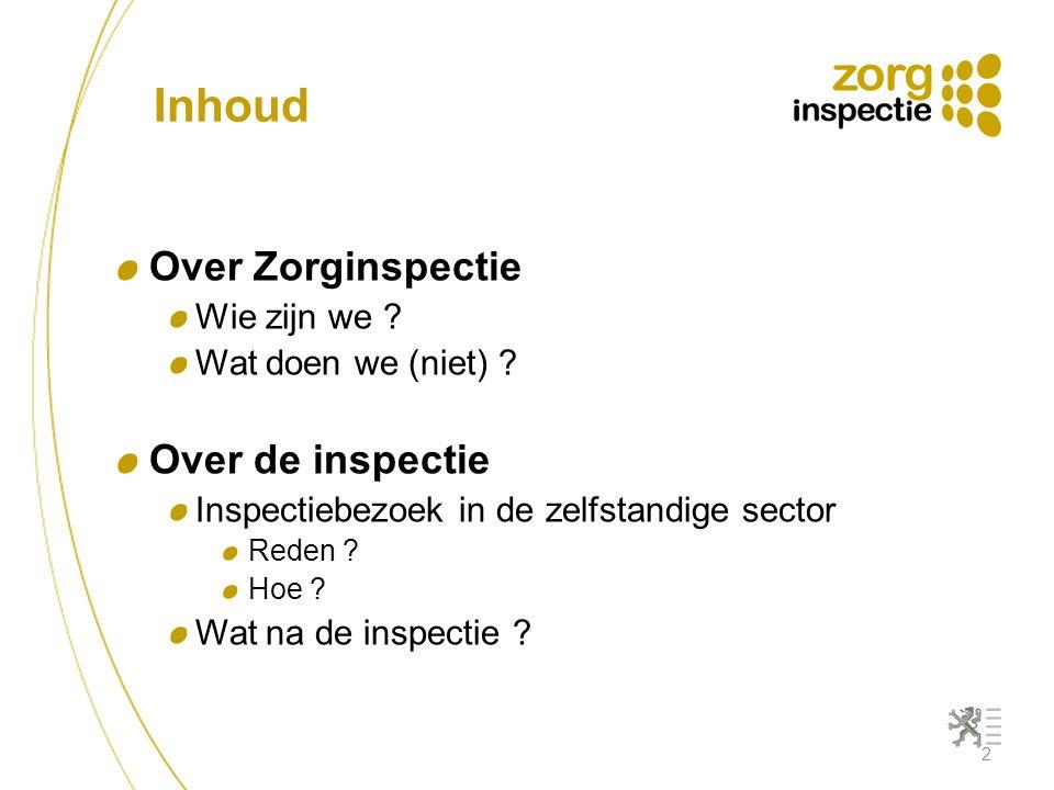 Inhoud Over Zorginspectie Wie zijn we ? Wat doen we (niet) ? Over de inspectie Inspectiebezoek in de zelfstandige sector Reden ? Hoe ? Wat na de inspe