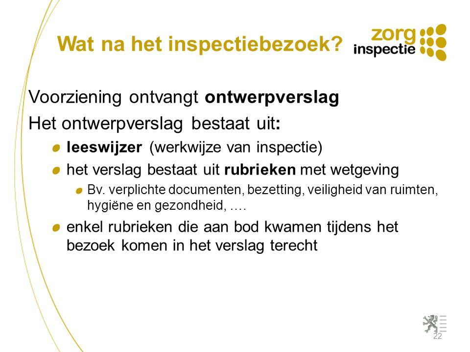 Wat na het inspectiebezoek? Voorziening ontvangt ontwerpverslag Het ontwerpverslag bestaat uit: leeswijzer (werkwijze van inspectie) het verslag besta