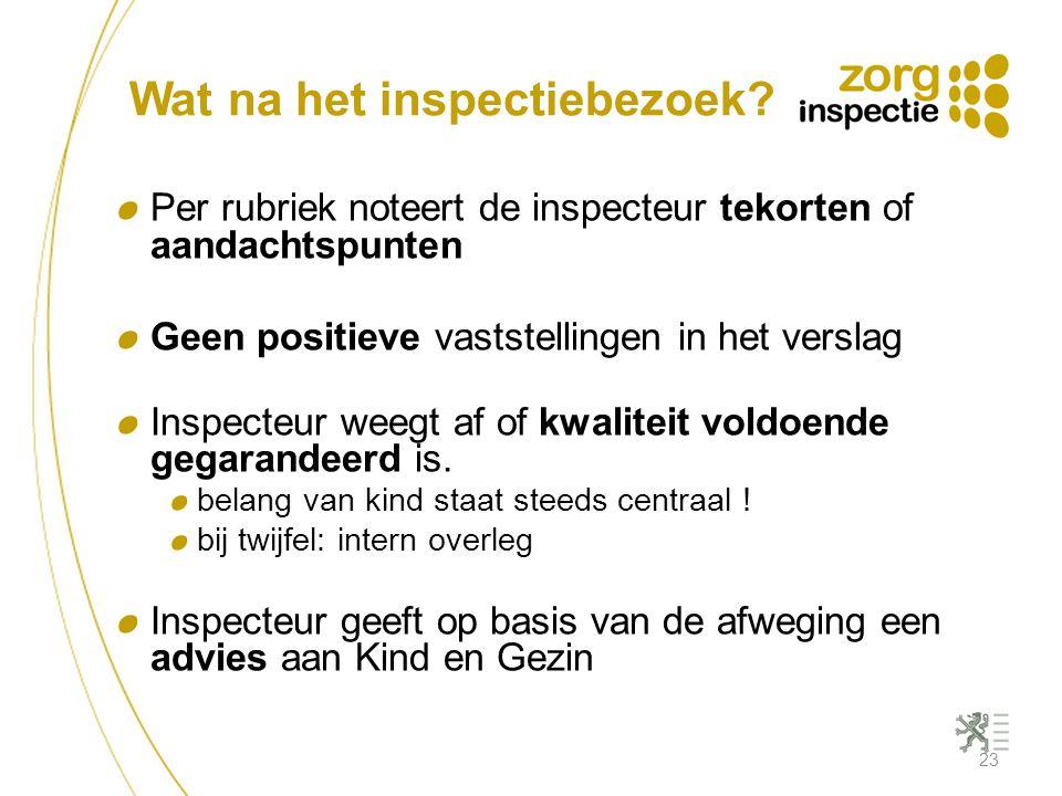 Wat na het inspectiebezoek? Per rubriek noteert de inspecteur tekorten of aandachtspunten Geen positieve vaststellingen in het verslag Inspecteur weeg