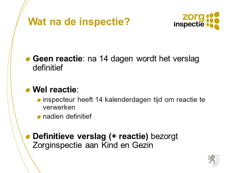 Wat na de inspectie? Geen reactie: na 14 dagen wordt het verslag definitief Wel reactie: inspecteur heeft 14 kalenderdagen tijd om reactie te verwerke